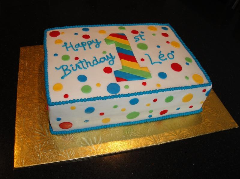 Multi-Coloured First Birthday Cake