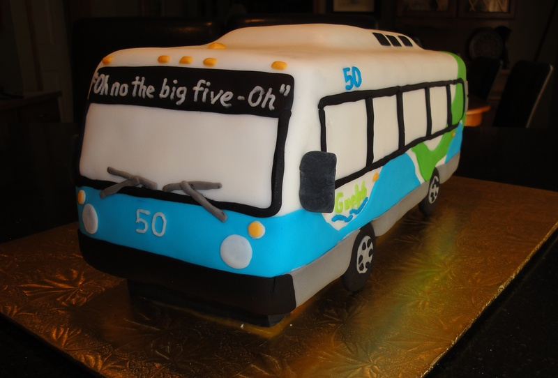 50th Birthday - 3D City Bus Cake