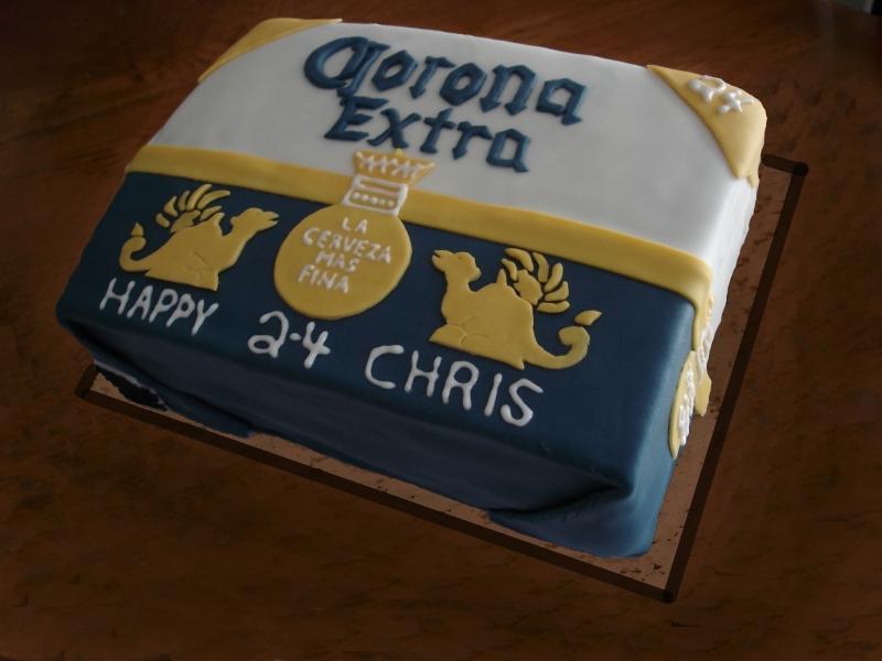 3D Corona Beer Case 24th Birthday Cake