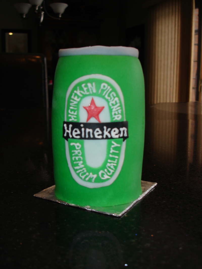 3D Heineken Can Birthday Cake
