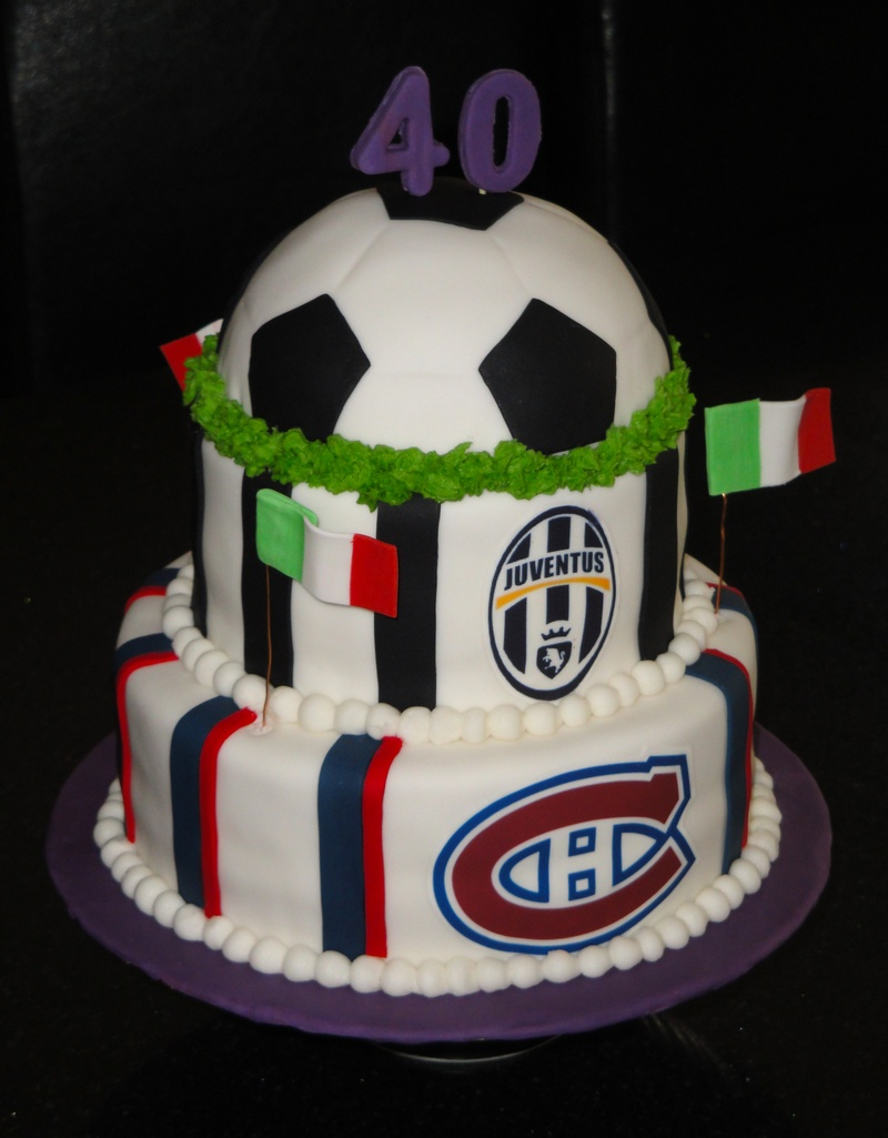 40th Birthday Soccer & Montreal Canadiens Theme Cake