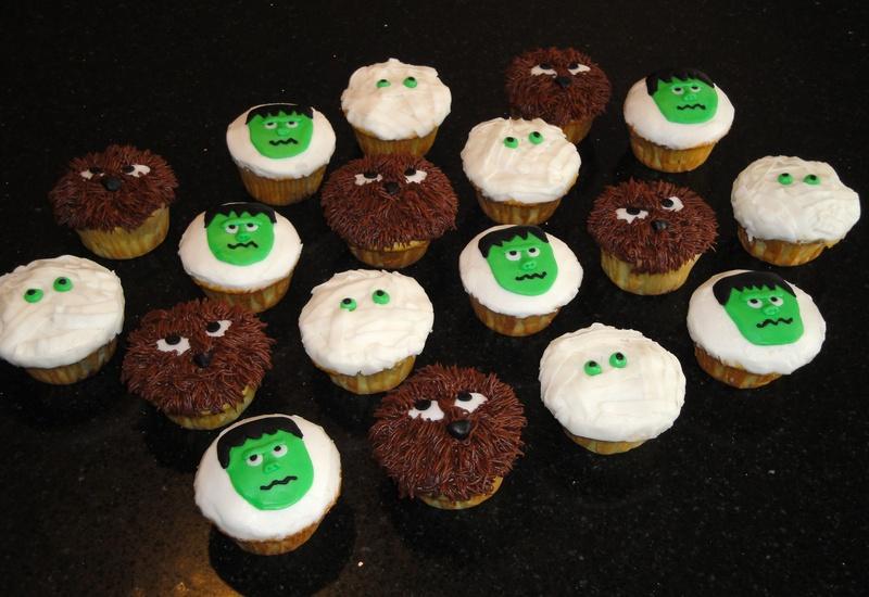 Frankenstein, Mummy & Werewolf Cupcakes