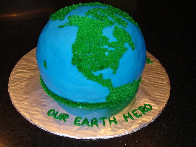3D Earth Hero Theme Birthday Cake