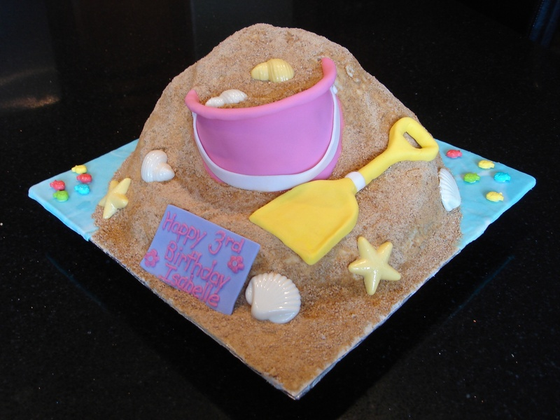 Fun at the Beach Theme Pail & Shovel Cake