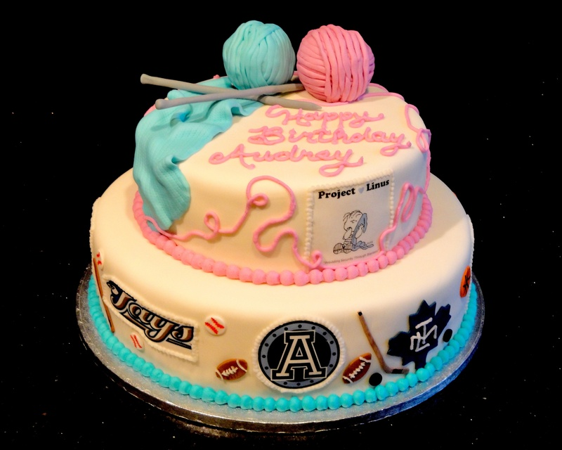 90th Birthday Sports Fan and Knitting Theme Cake