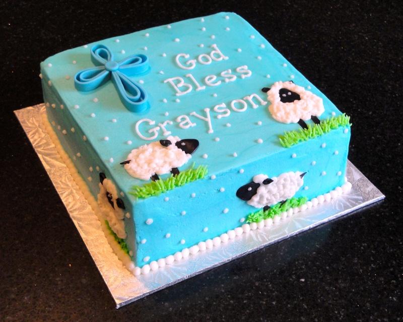 Little Sheep Baptism Cake