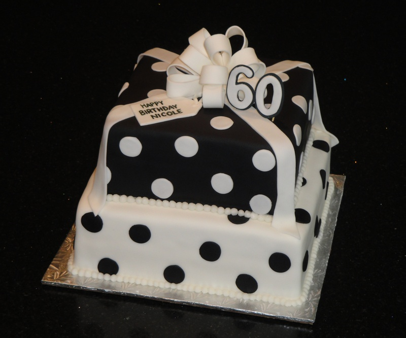 Black White Present Cake 60th Birthday 2 Tiered