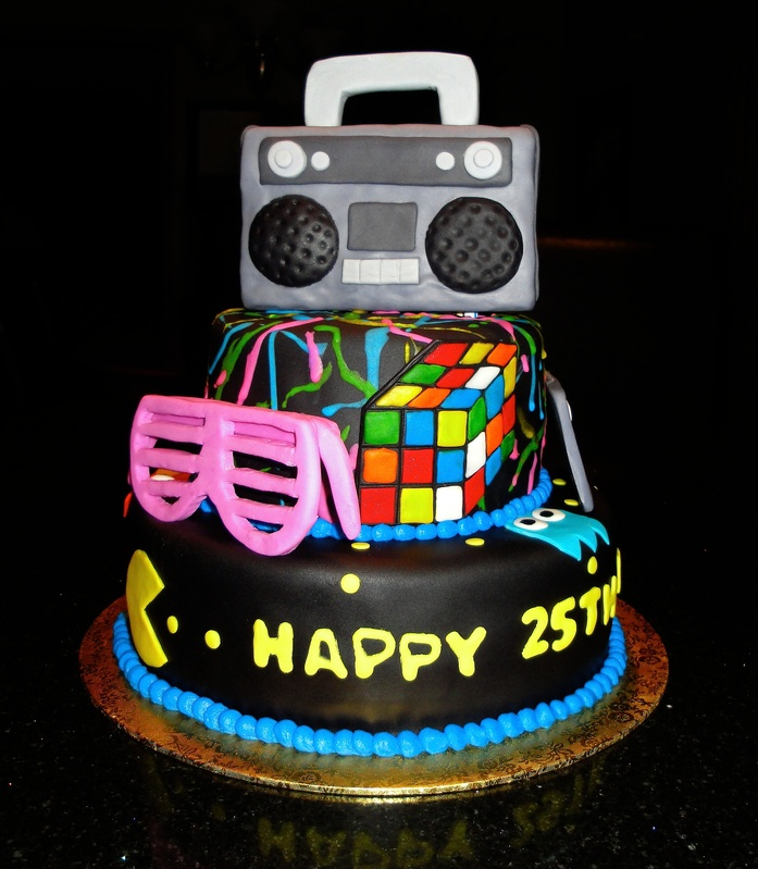 80s neon cake ideas 43876 pin 80s theme cakes boombox cass for 80s cake decoration ideas