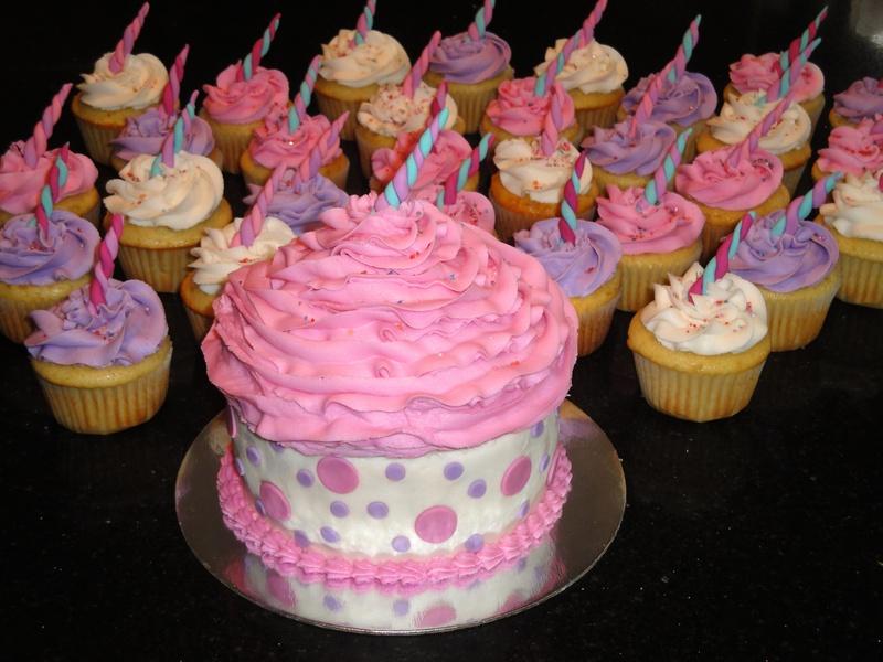 Unicorn Theme Cupcakes & Giant Cupcake