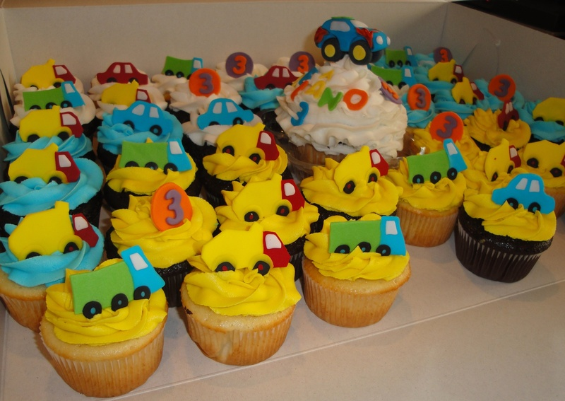 3rd Birthday Vehicles Theme Cupcakes