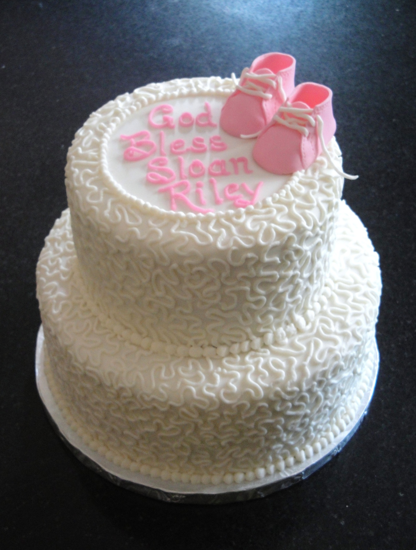 2 Tiered Baby Baptism Cake