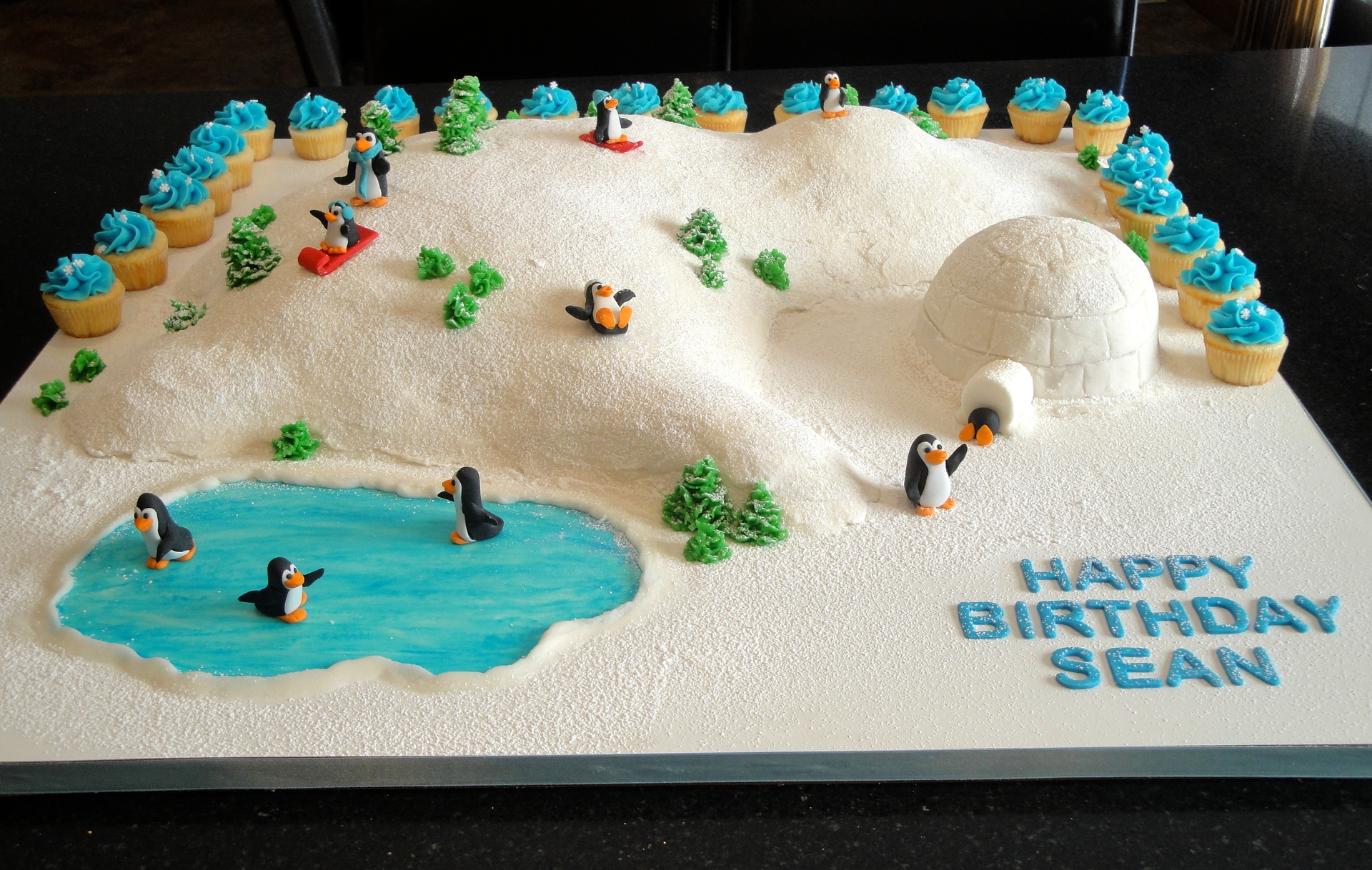 3D Winter Fun Scene 1st Birthday Cake