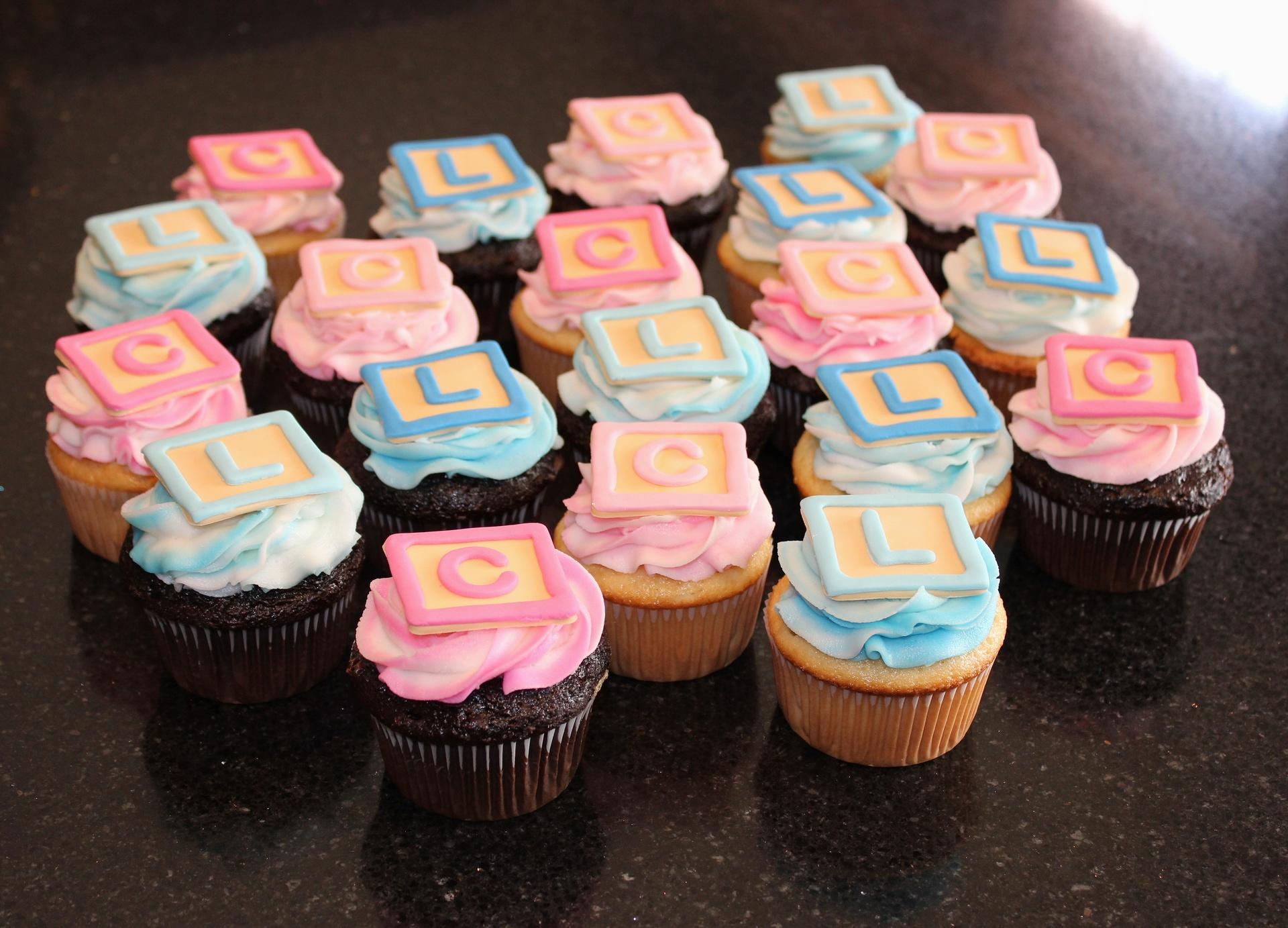 Baby Blocks Shower Cupcakes