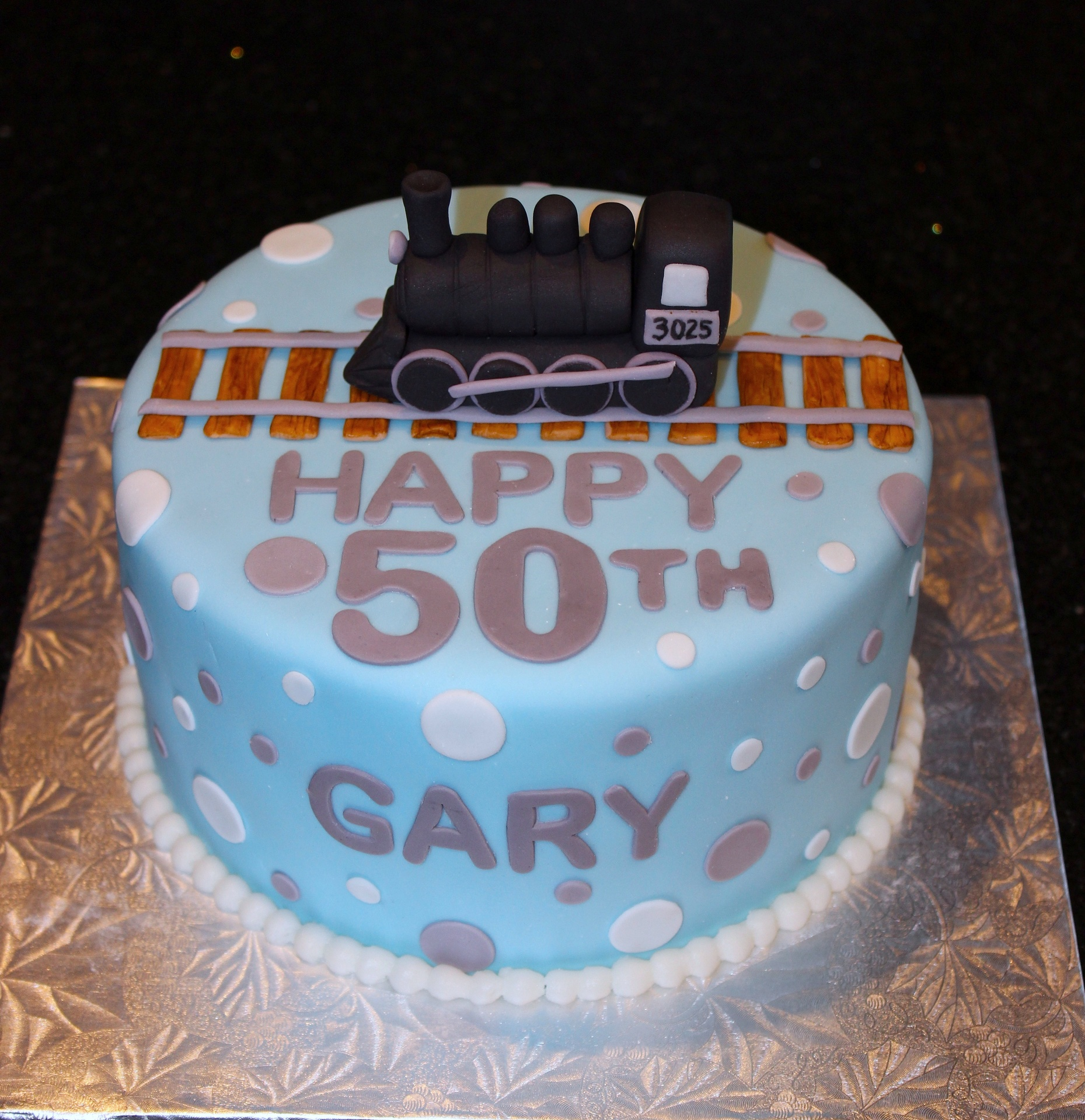 50th Birthday Steam Locomotive Theme Cake