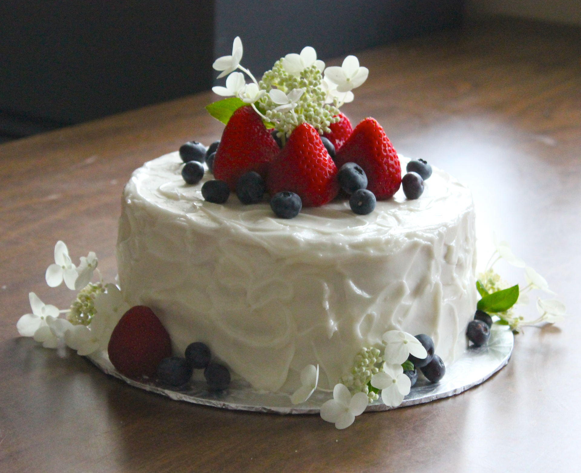 Rustic Birthday Cake with Fresh Fruit & Flowers