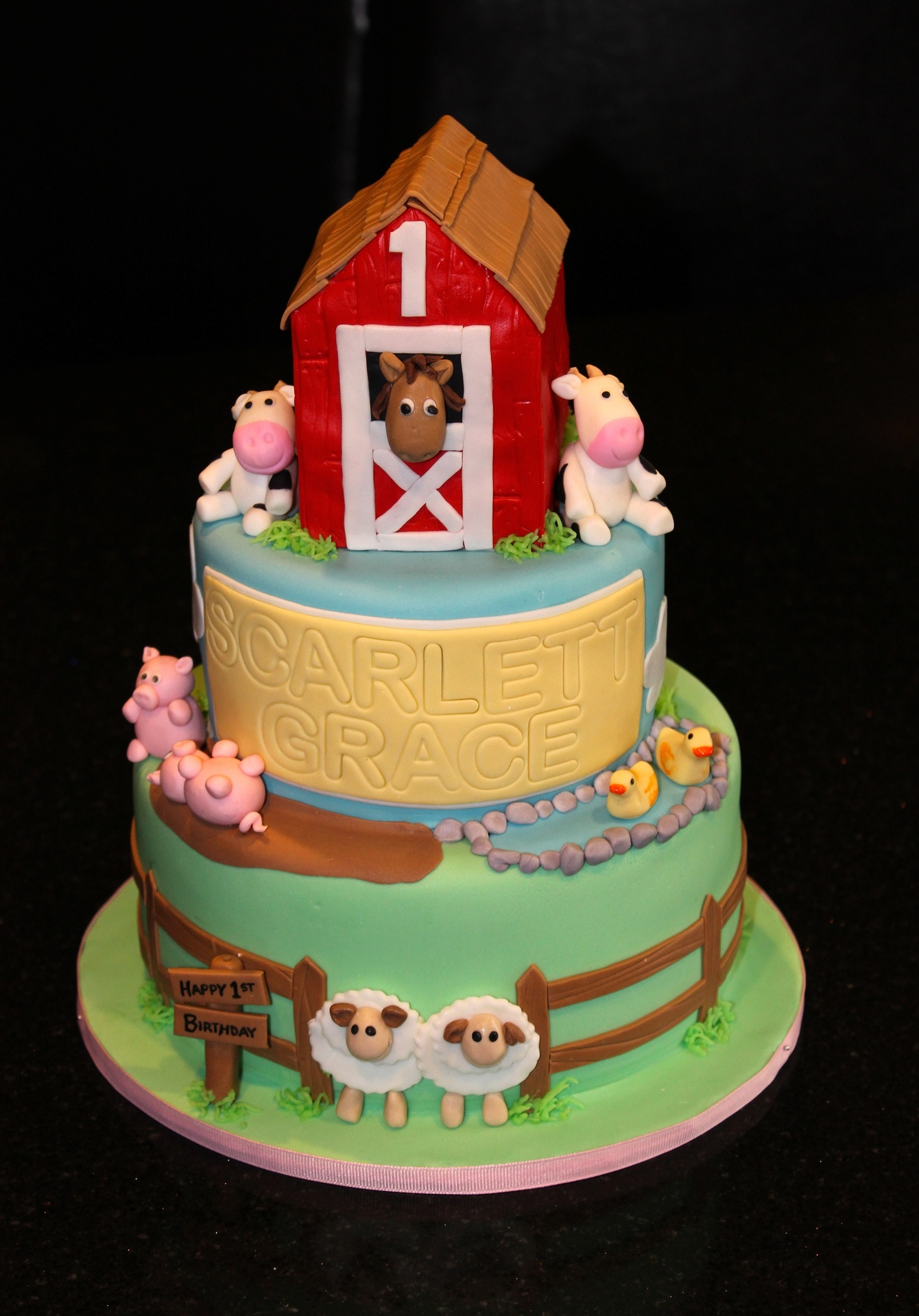 3 Tiered Farm Theme 1st Birthday Cake
