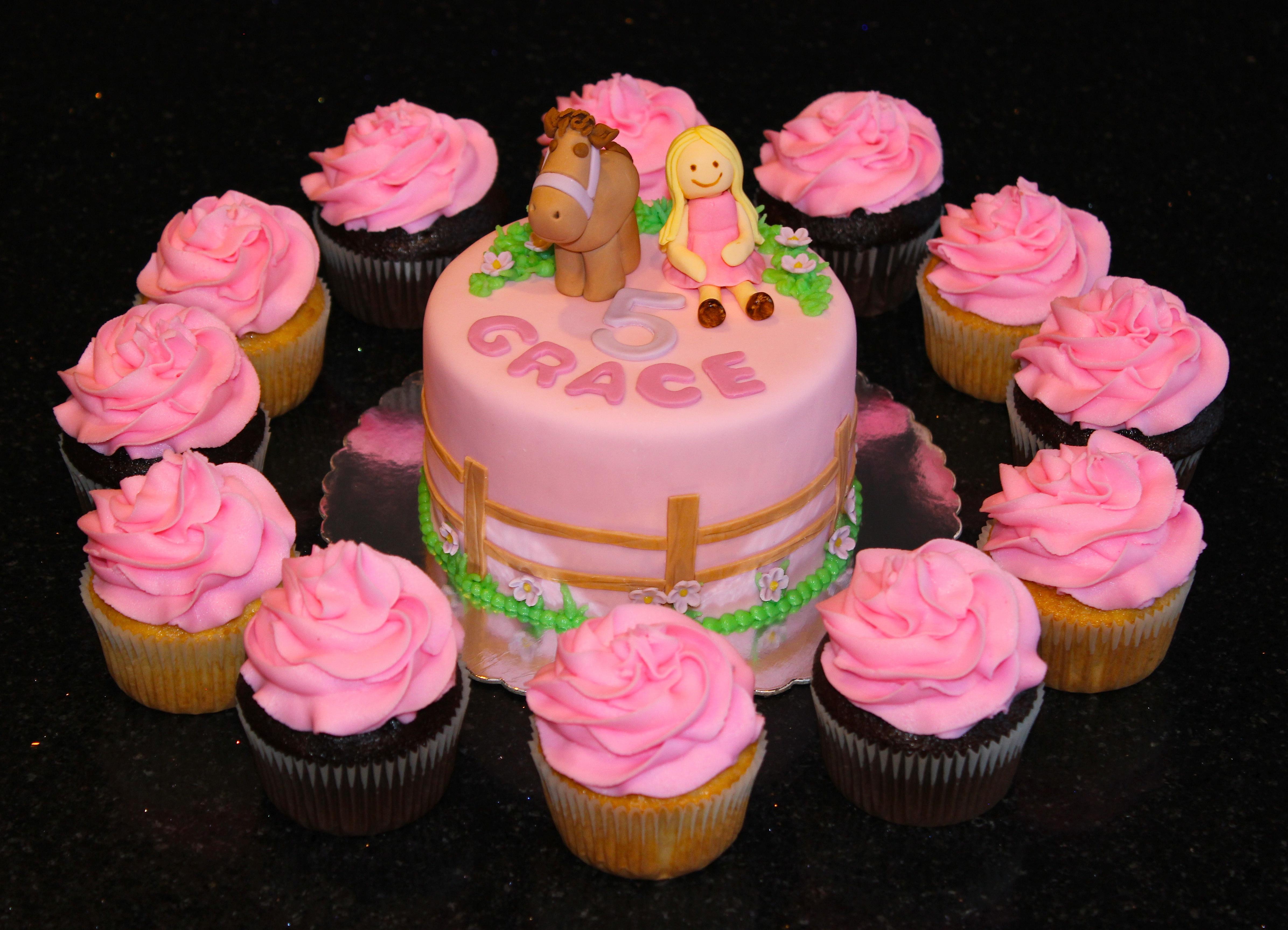 Pony Theme cake and cupcakes