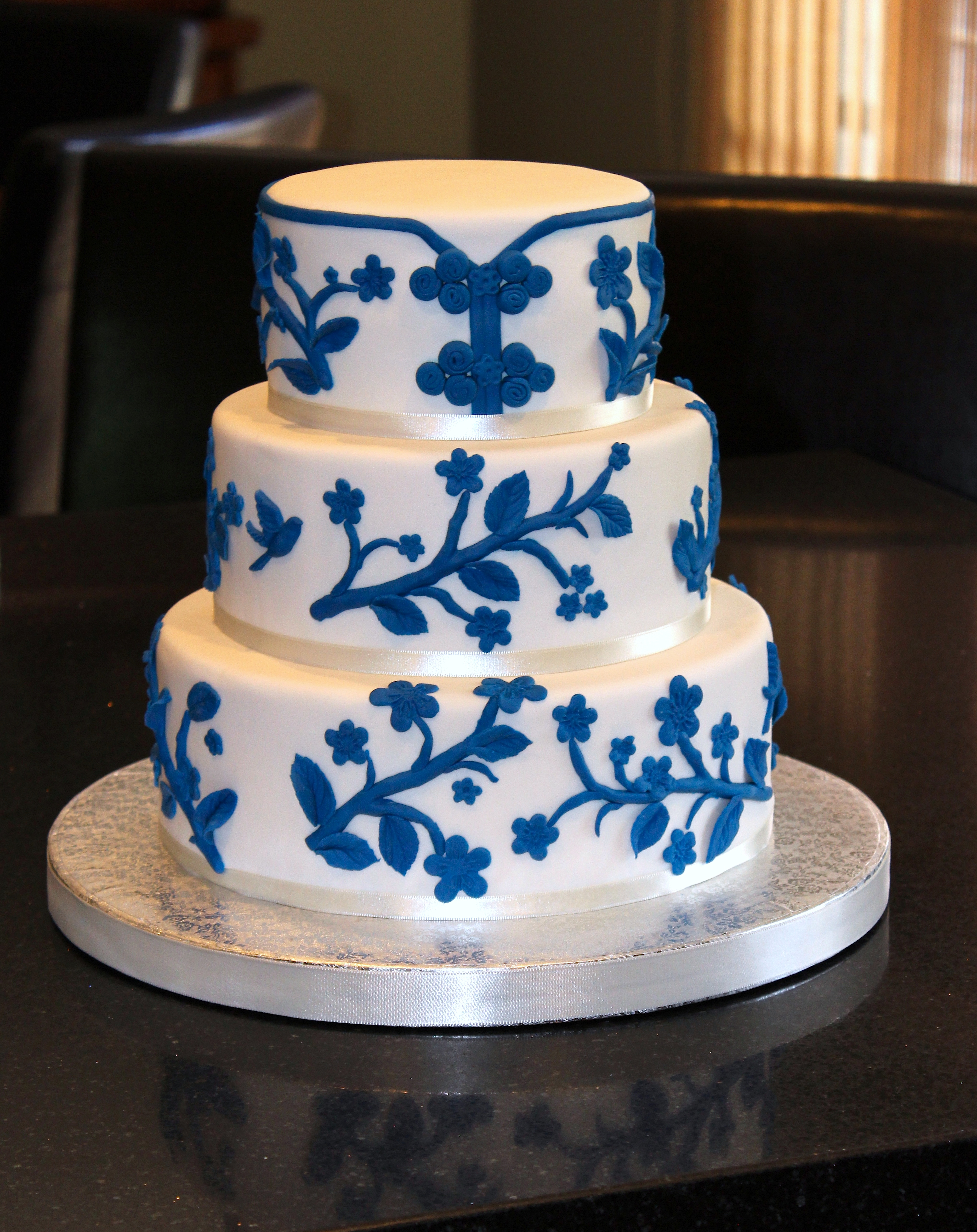 3 Tiered Chinoiserie Wedding Cake