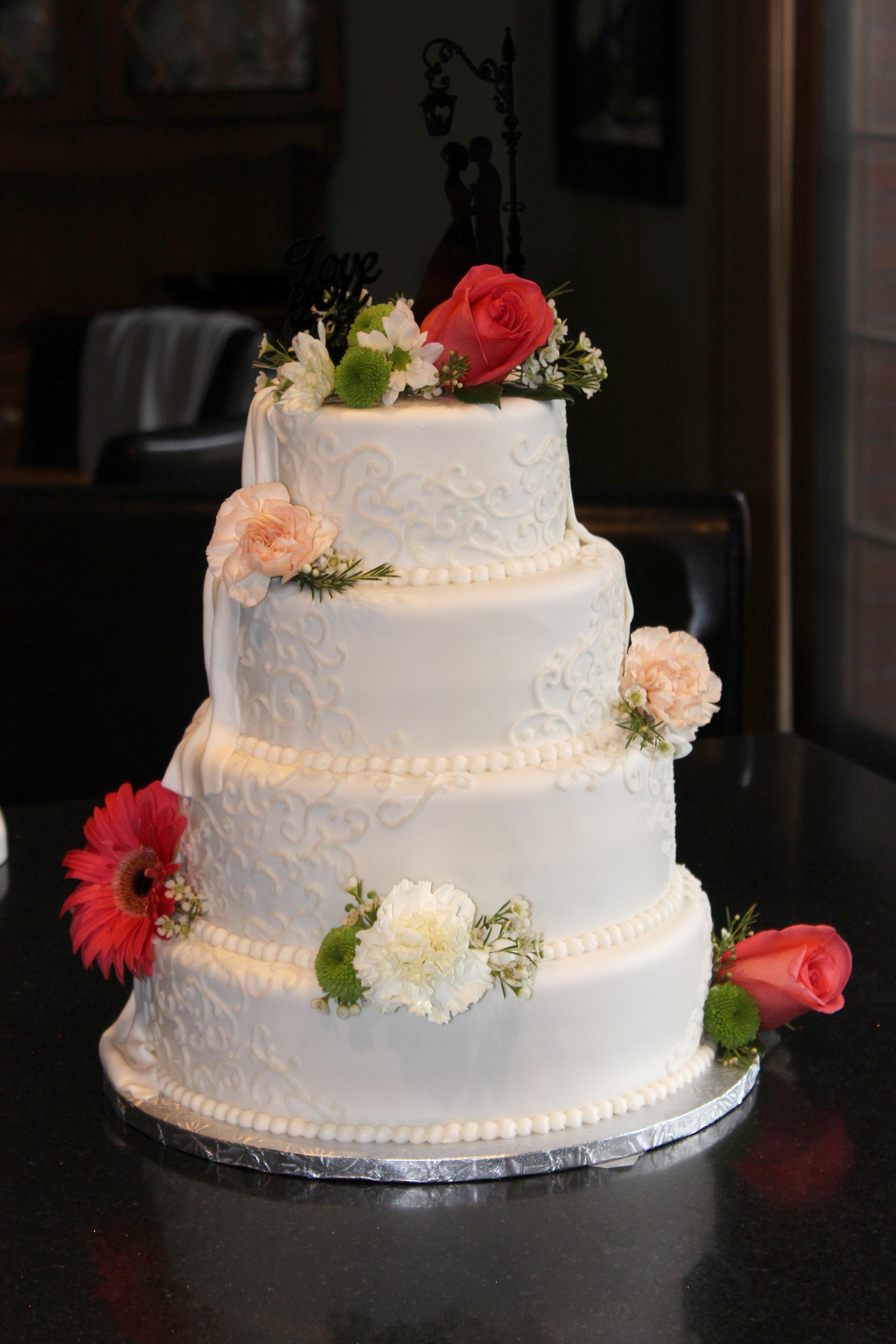 4 Tiered Wedding Cake With Groom's Cake