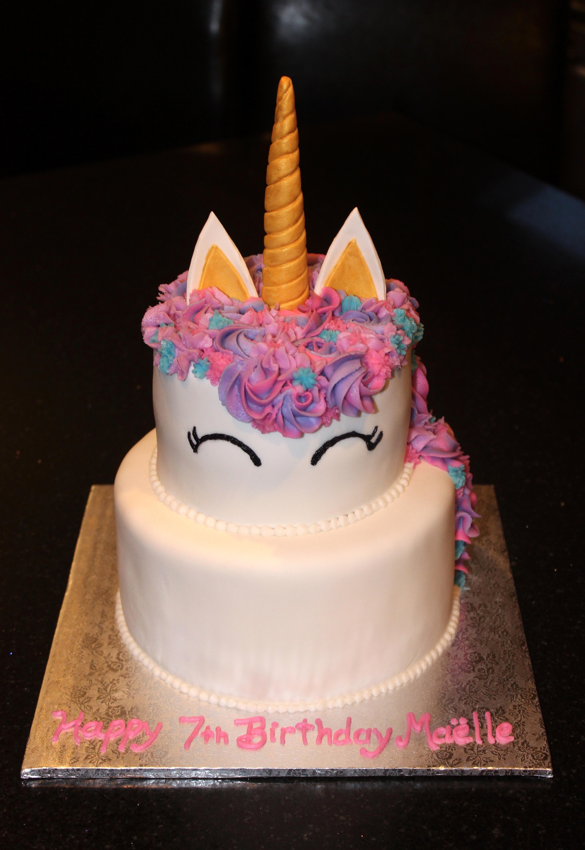 2 tiered Unicorn Theme Birthday
