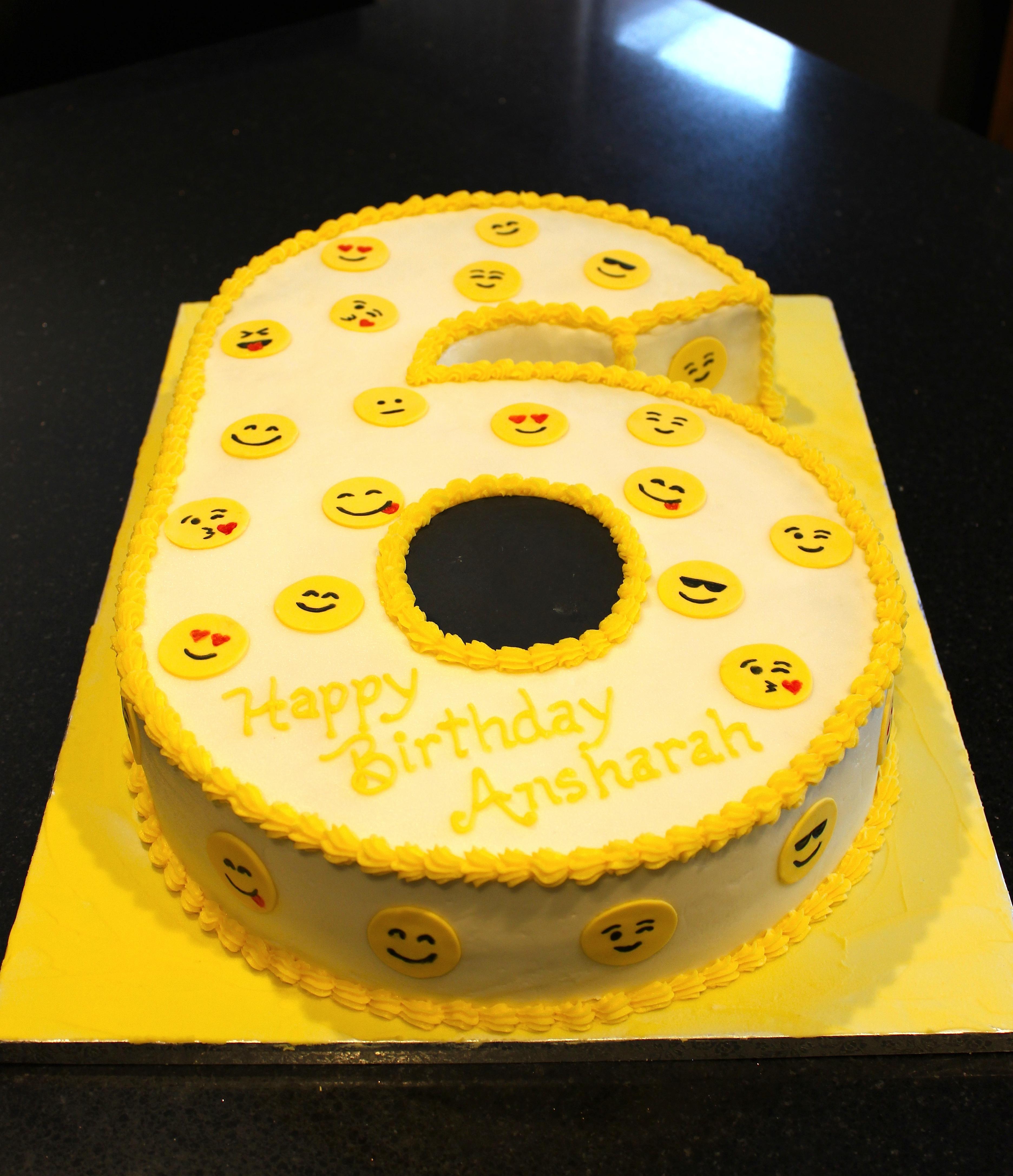 3D Number Six Emoji Theme Birthday Cake