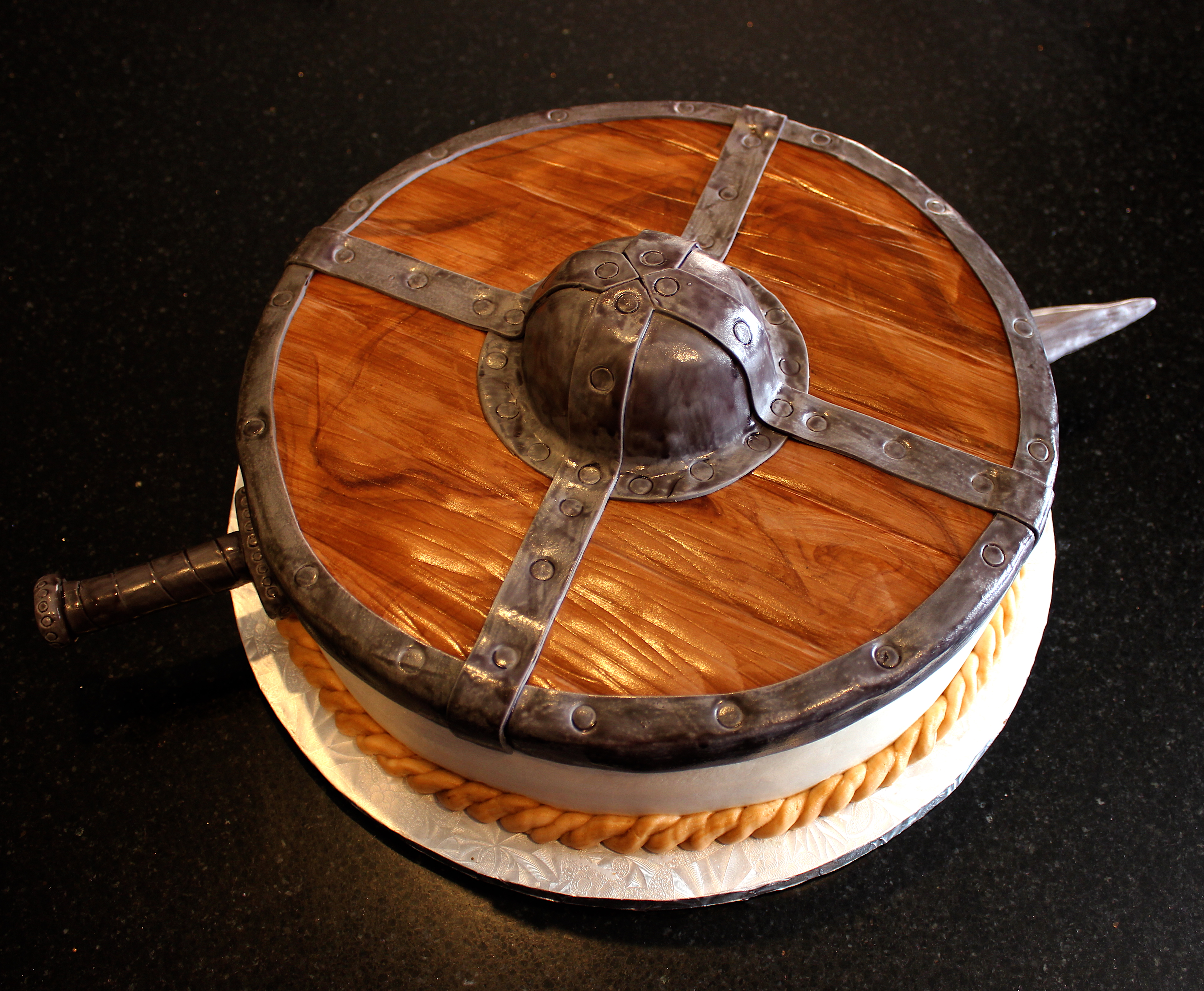 Viking Shield and Sword Cake