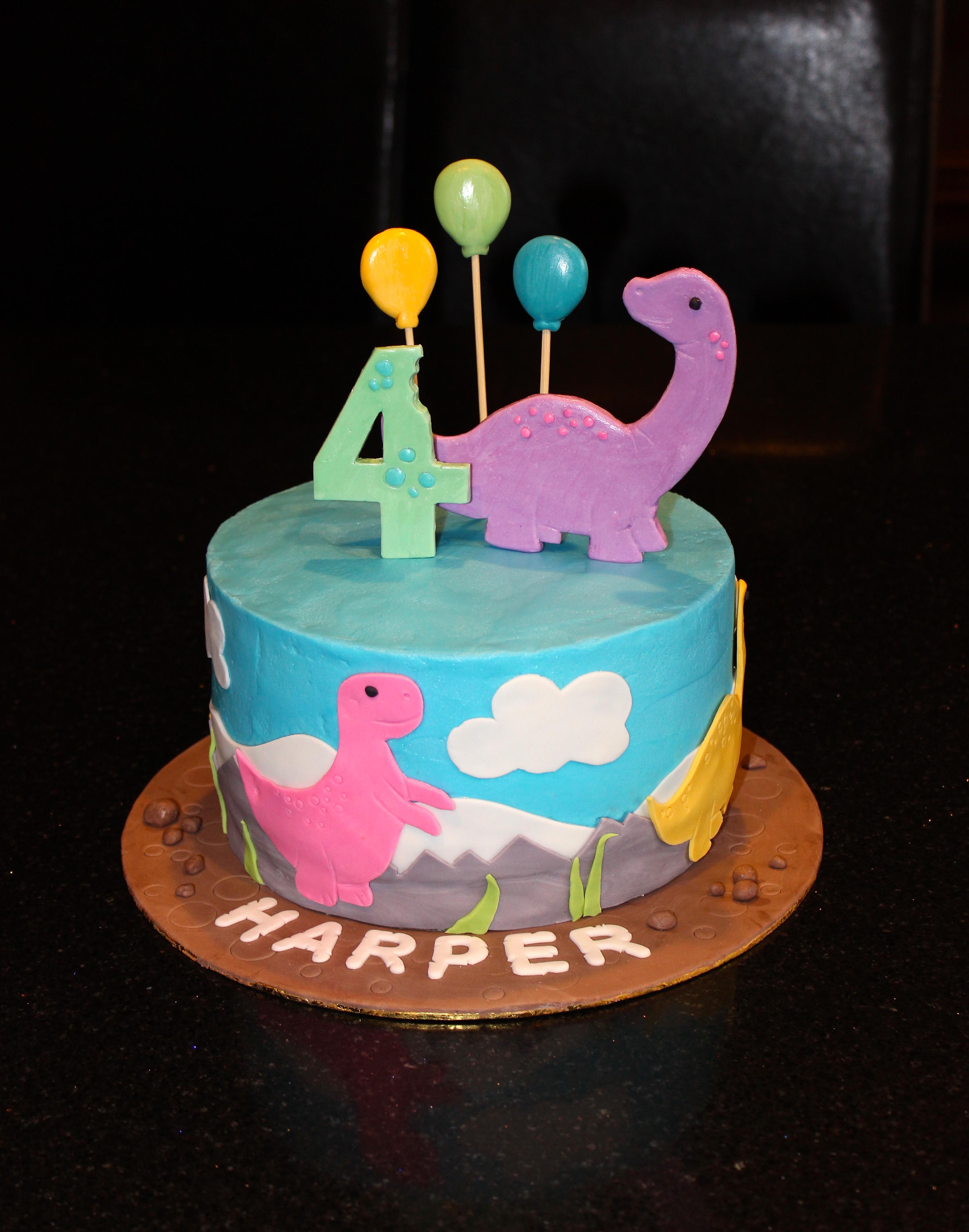 4th Birthday Dinosaur Theme Cake