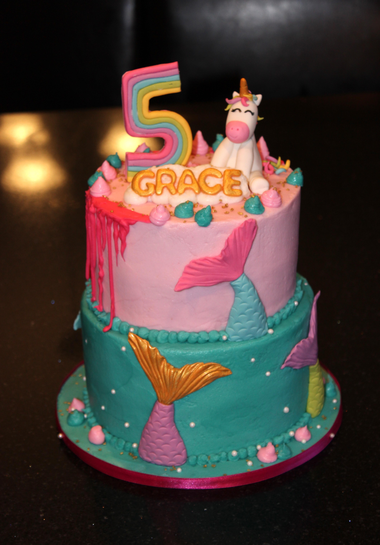 Rainbows, Unicorns, and Mermaids Birthday Cake