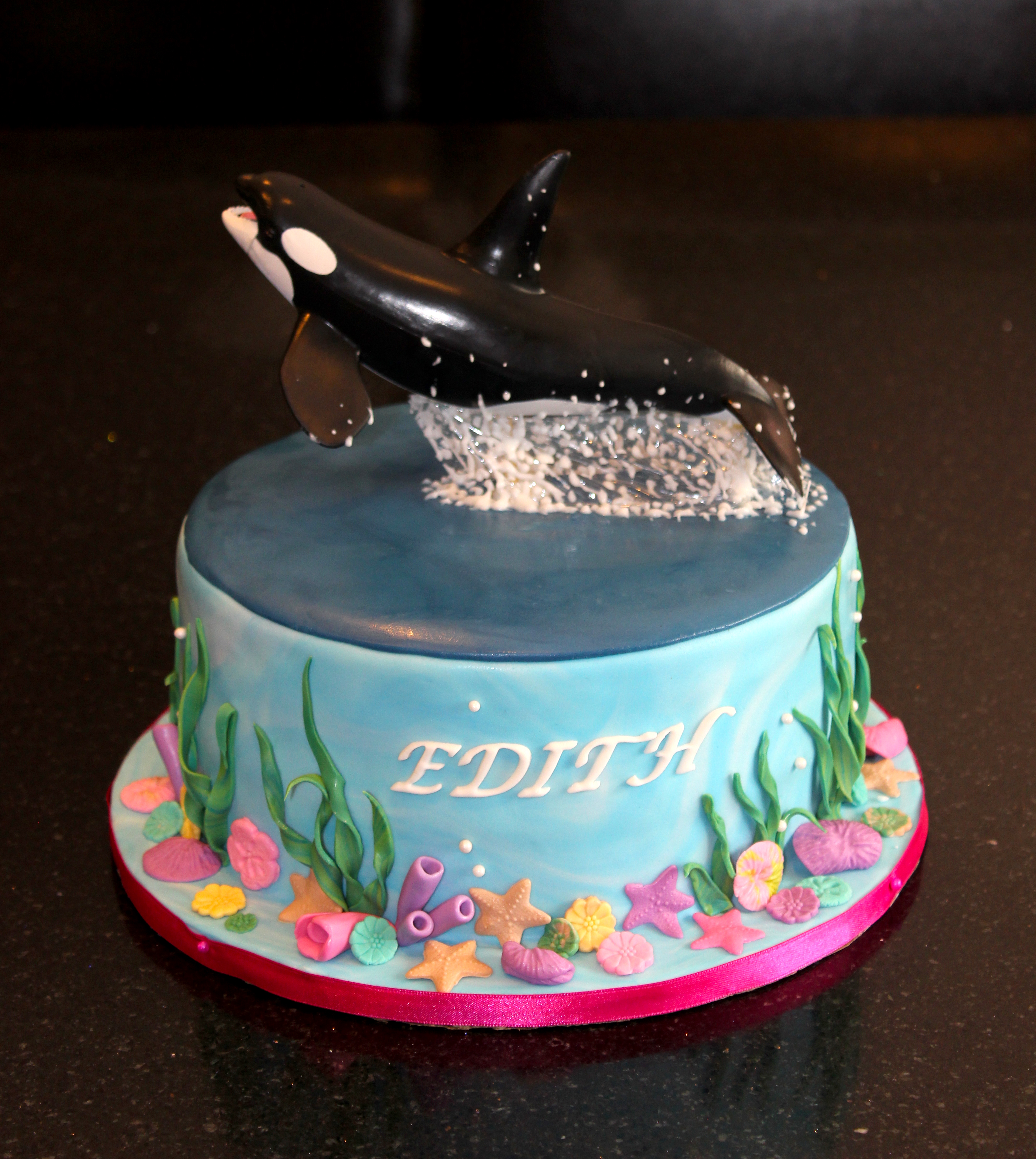 Leaping Orca Birthday Cake