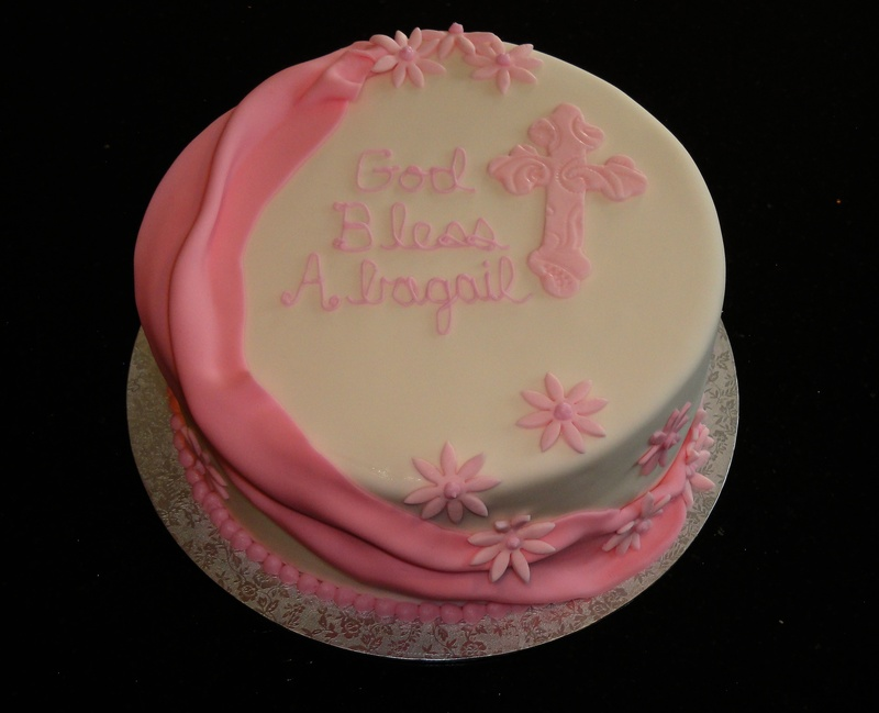 First Communion Cake withPink swags