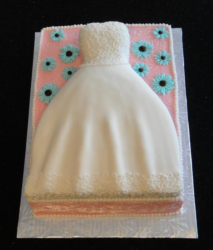 3D Wedding Dress Bridal Shower Cake