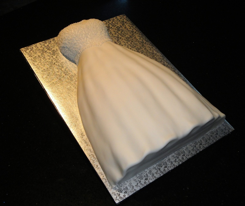 3D Wedding Dress Bridal Shower Cake