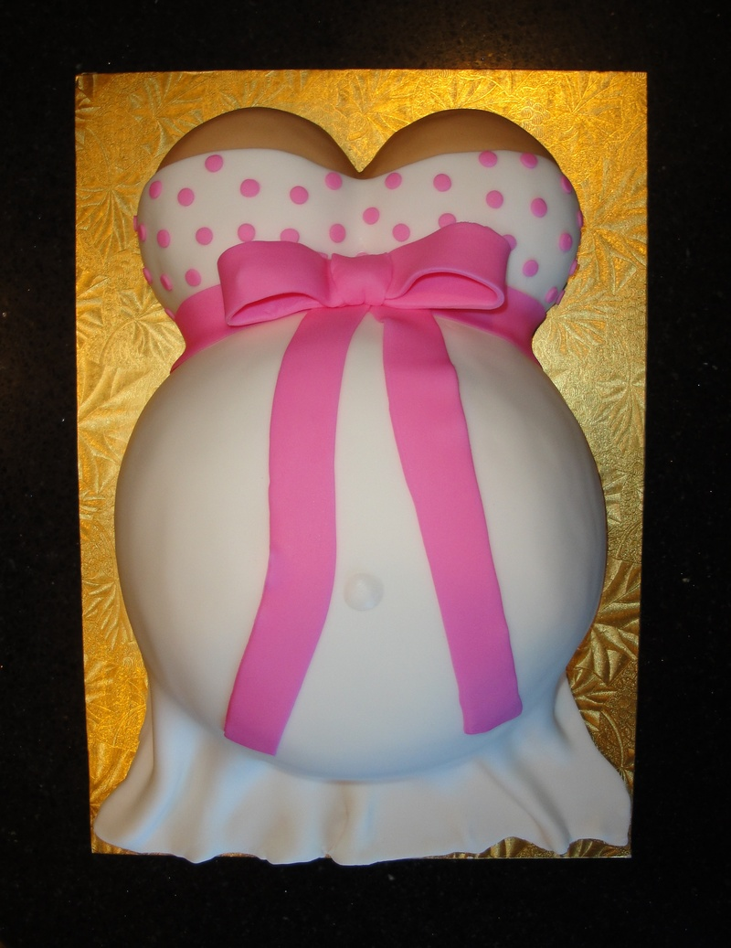 Pink Polka Dot Baby Bump Shower Cake