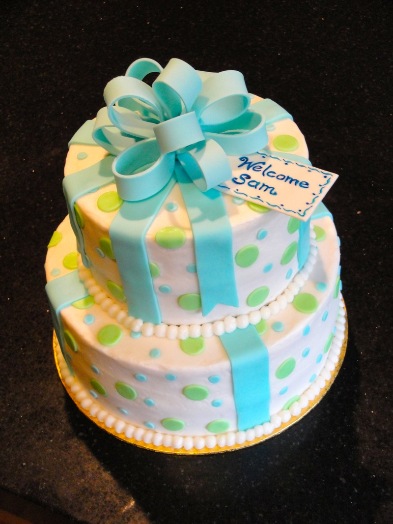 2 Tiered Baby Shower Present Cake