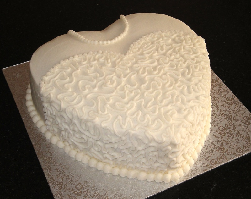 Brides Heart shaped shower cake.