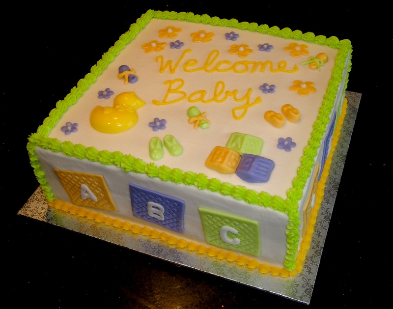 Baby Block Themed Baby Shower Cake