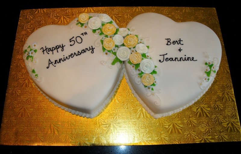 50th Anniversary Joined Hearts Cake