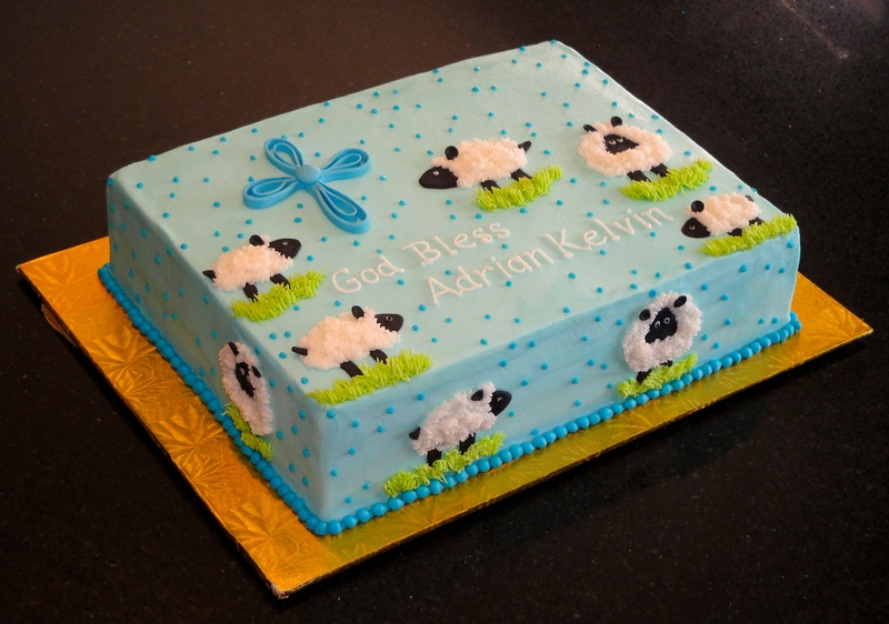 Little Lambs Baptism Cake