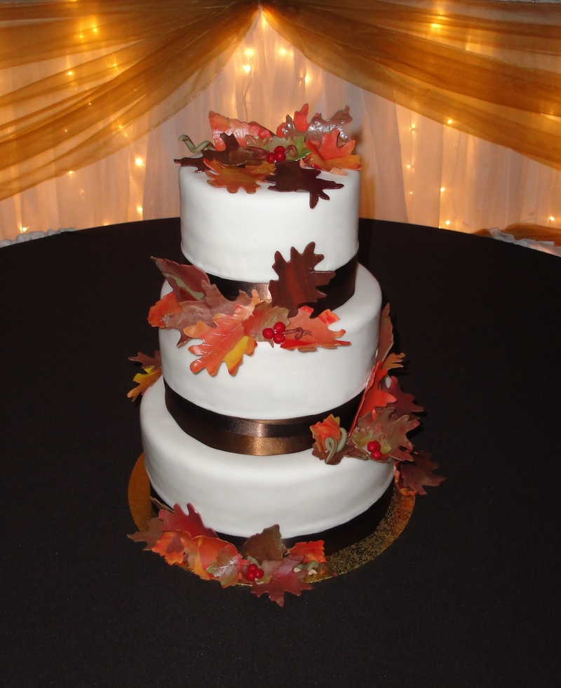 3 Tiered Autumn Leaves Wedding Cake