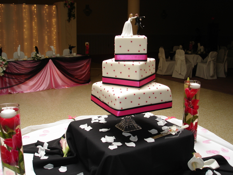 3 Tier Pink & Black Wedding Cake
