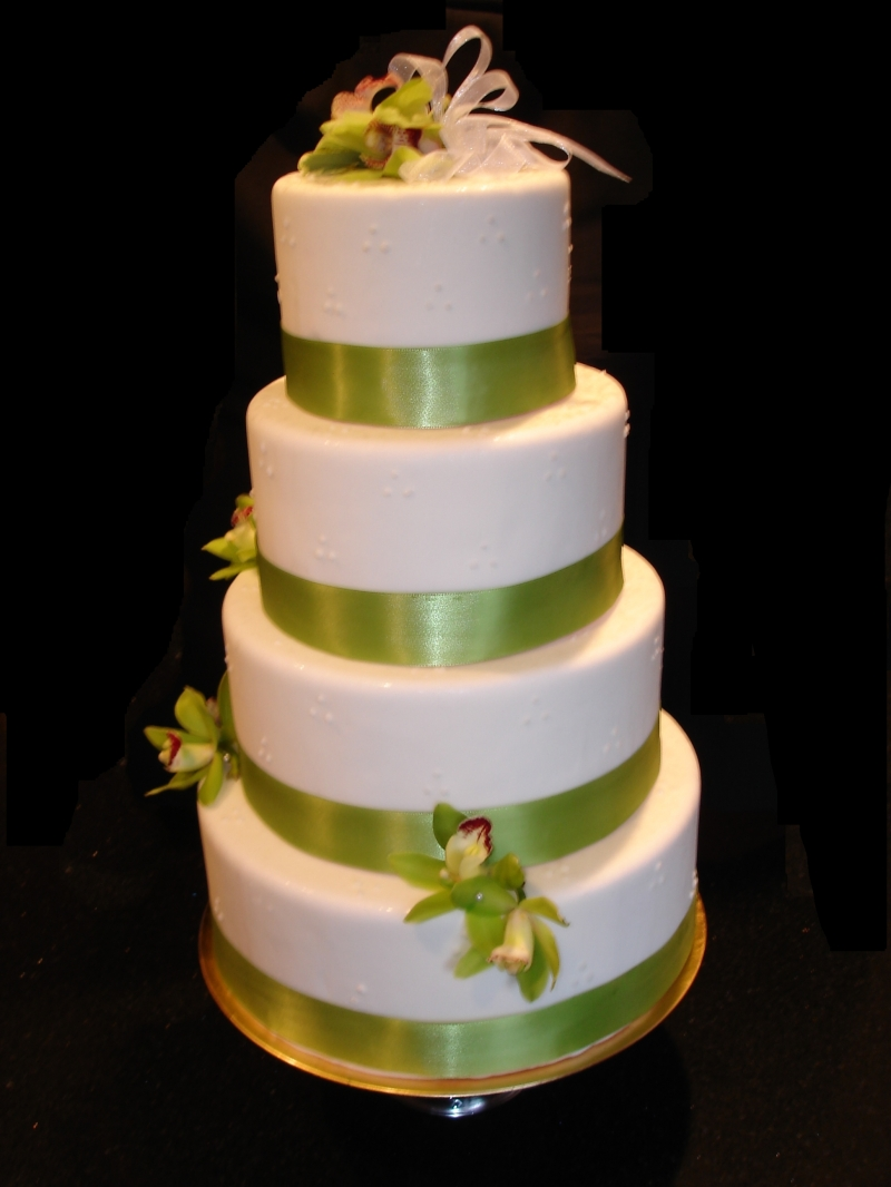 4 Tiered Wedding Cake & Green Orchids