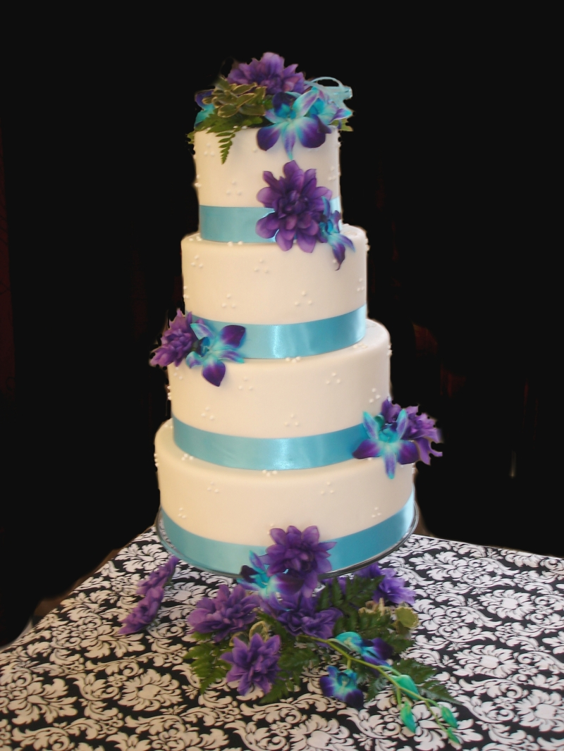 4 Tiered Wedding Cake and purple Orchids