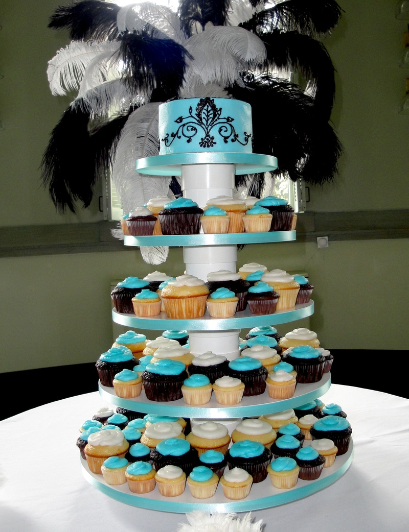 Tiffany Blue Wedding Cake/Cupcakes