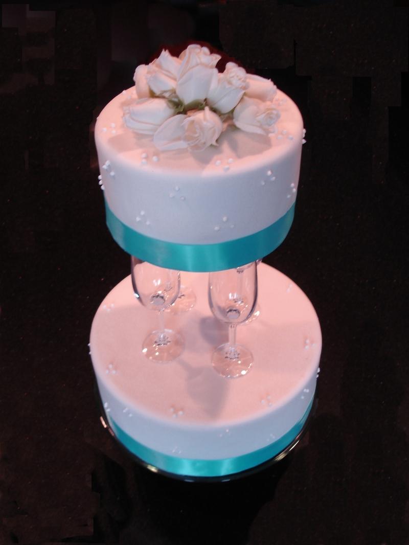 Crystal Champagne Flute Wedding Cake