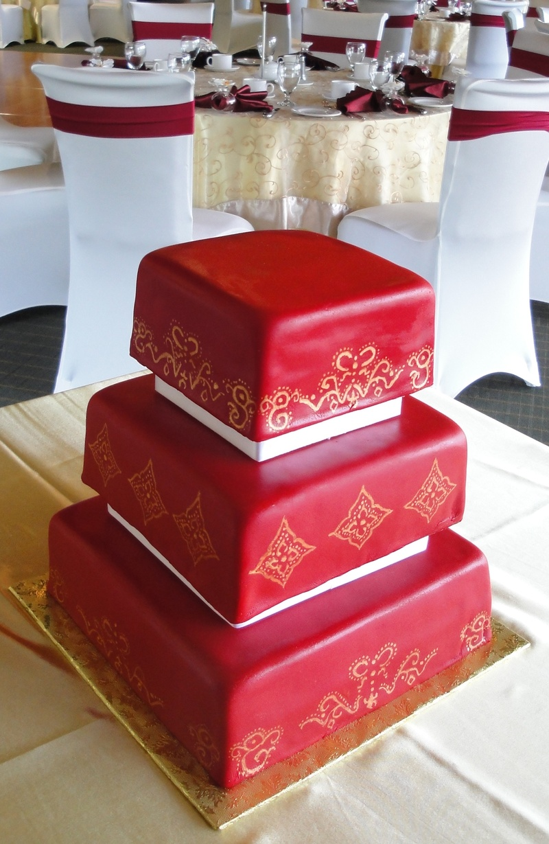 Red Fondant Wedding Cake