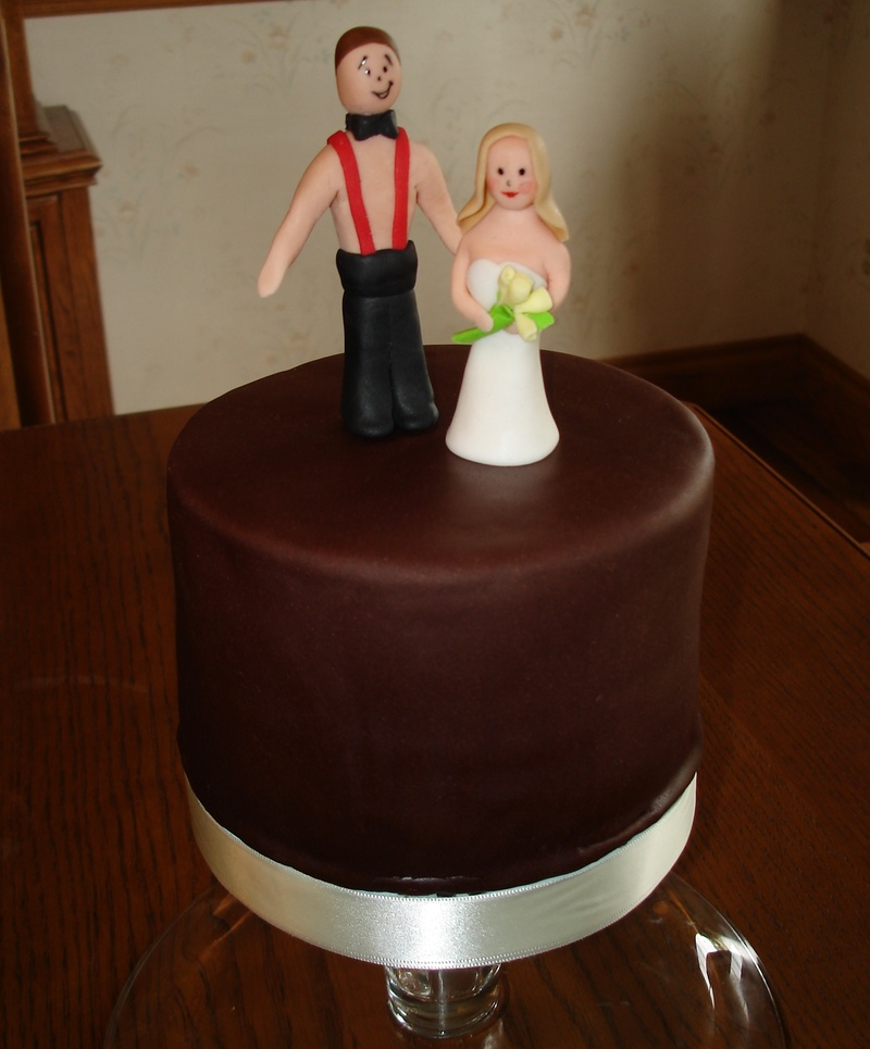 Fondant Bride & Groom On Chocolate Fondant Cake