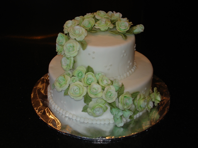 2 Tier Wedding Cake with Cascading Green Roses