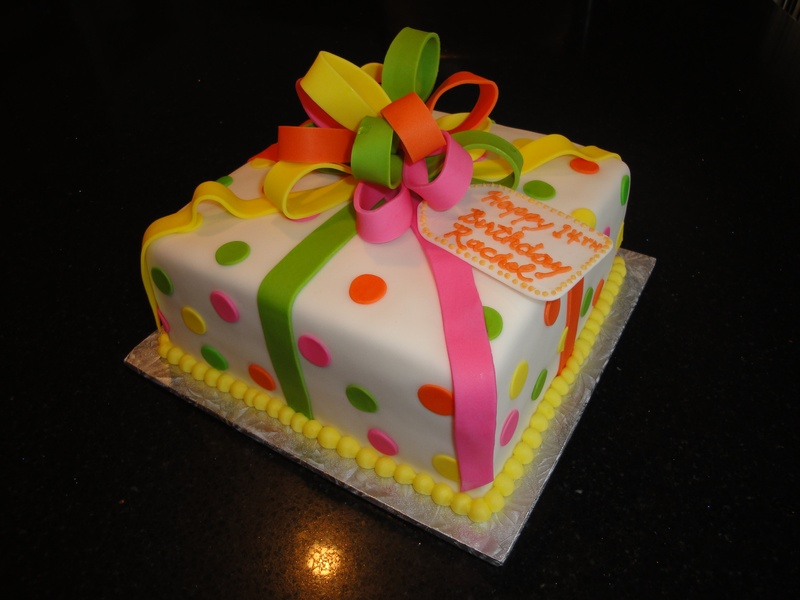 Neon Birthday Present Cake