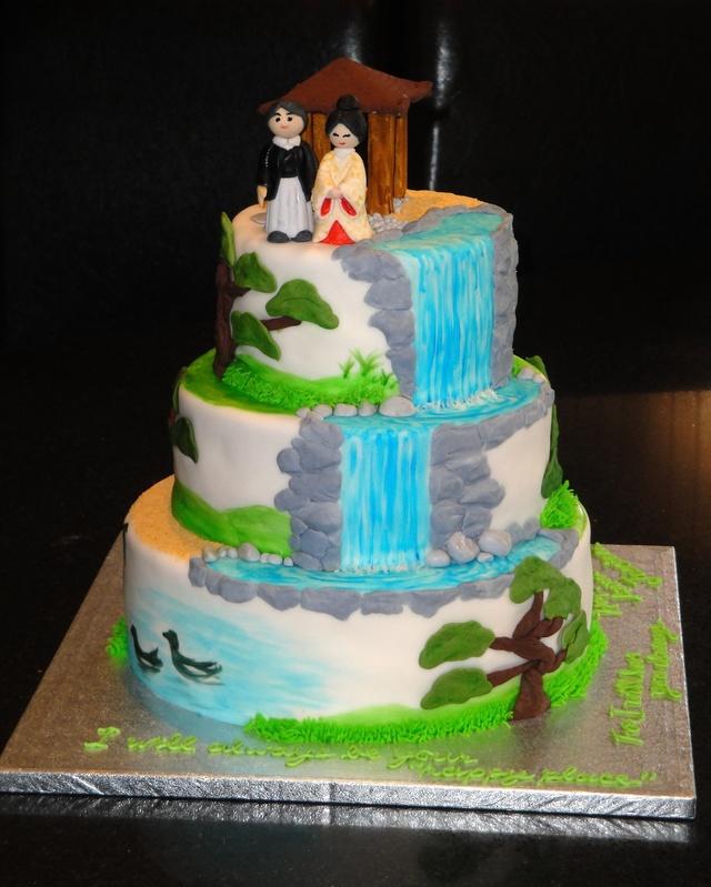 3 Tiered Zen Garden 1st Anniversary Cake