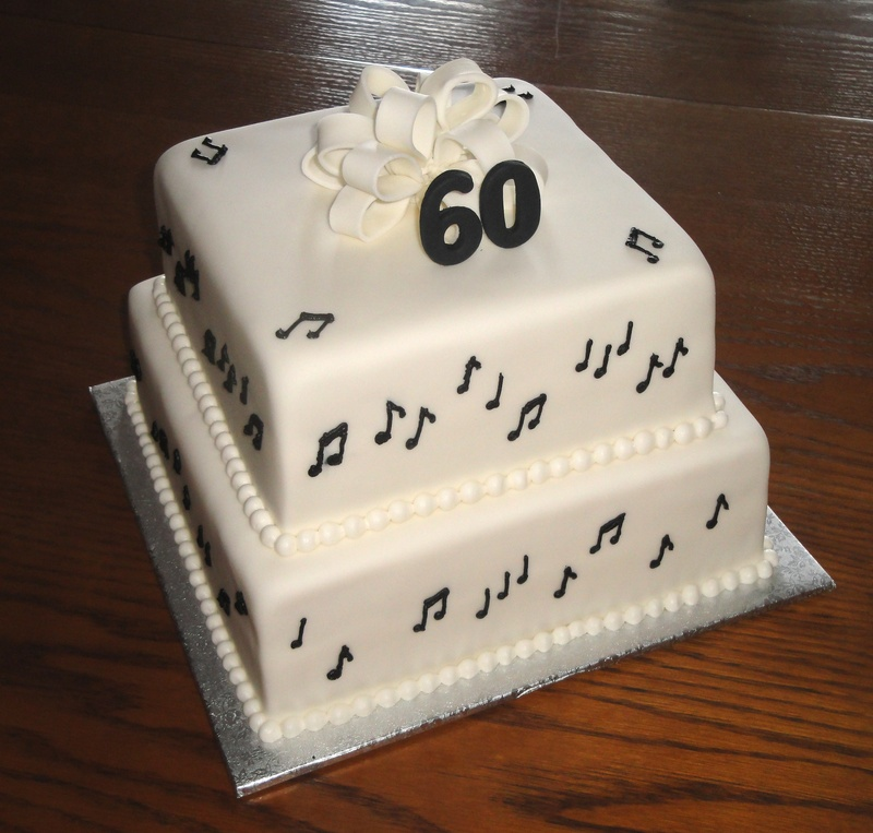 2 Tiered 60th Birthday Musical Theme Cake